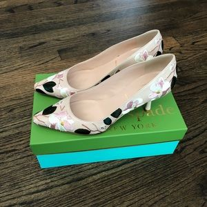 Kate Spade Lynne pink embroidery flower heels EUC